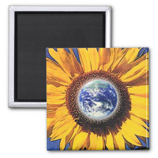 EARTH DAY SUNFLOWER BY GREGORY GALLO 2 INCH SQUARE MAGNET