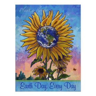 Earth Day Sunflower Poster