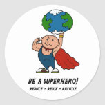 Earth Day Superhero Classic Round Sticker