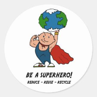 Earth Day Superhero Classic Round Sticker