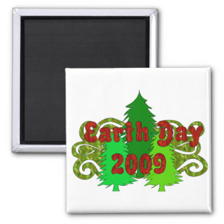 Earth Day Trees 2009 2 Inch Square Magnet