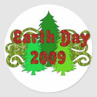 Earth Day Trees 2009 Classic Round Sticker