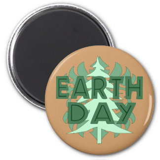 Earth Day Trees 2 Inch Round Magnet