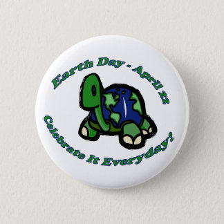 Earth Day Turtle Pinback Button