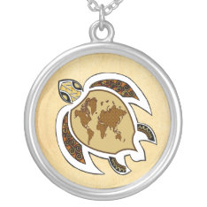 Earth Day Turtle World On Shell Silver Necklace at Zazzle