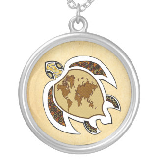 Earth Day Turtle World On Shell Silver Necklace