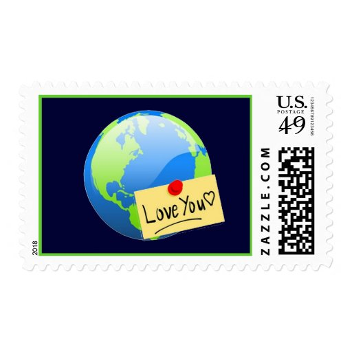 earth day valentine note postage stamp
