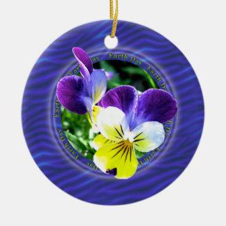 Earth Day Viola Round Ornament