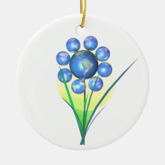 Earth Day World Flower Double-Sided Ceramic Round Christmas Ornament