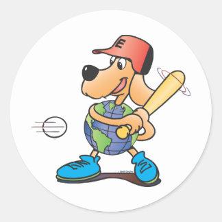 Earth Dog Plays Baseball Classic Round Sticker