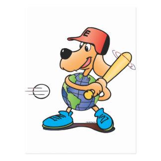 Earth Dog Plays Baseball Postcard