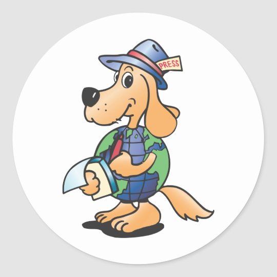 Earth Dog Reporter Classic Round Sticker