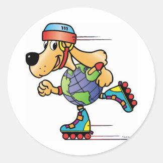 Earth Dog Skating Classic Round Sticker