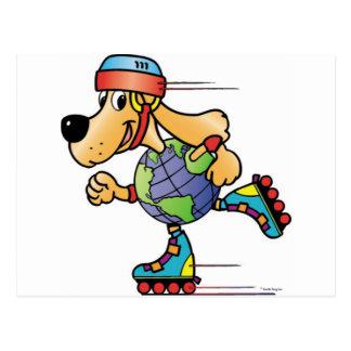 Earth Dog Skating Postcard