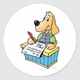 Earth Dog Writing Letters Classic Round Sticker