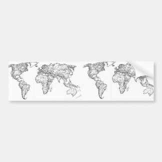 Earth drawing continents bumper sticker
