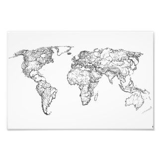 Earth drawing continents photo art