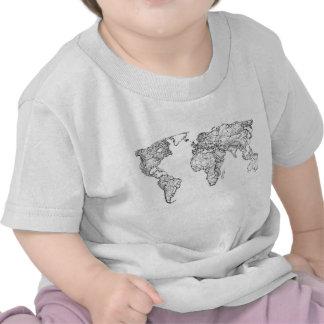 Earth drawing continents tshirts