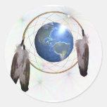 Earth Dreamcatcher Round Sticker