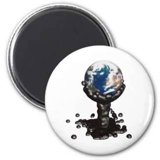 Earth drowned in oil 2 inch round magnet