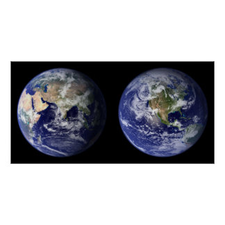 Earth - Eastern & Western Hemispheres Poster