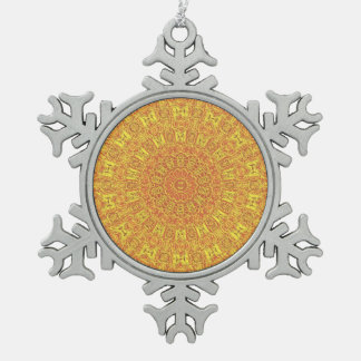 EARTH Element Contours Pattern Snowflake Pewter Christmas Ornament