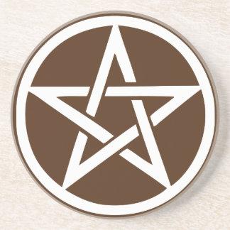 Earth Element Pentacle Altar Tile - Brown Drink Coaster