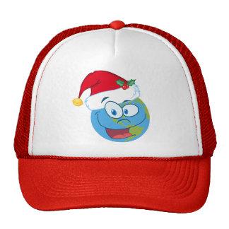 Earth face wearing Santa hat