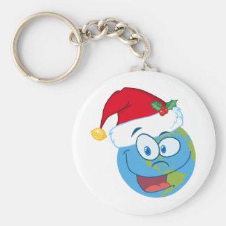 Earth face wearing Santa hat Keychain