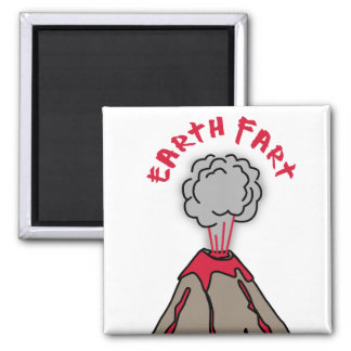 Earth Fart Volcano 2 Inch Square Magnet