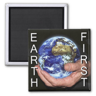 Earth first 2 inch square magnet