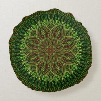 Earth Flower Mandala Round Pillow