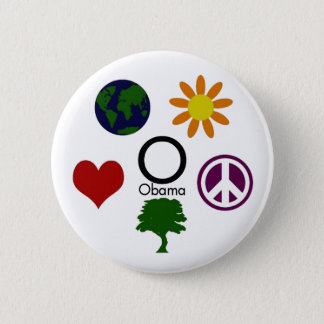 Earth, Flower, Peace, Tree, Love, Obama Button
