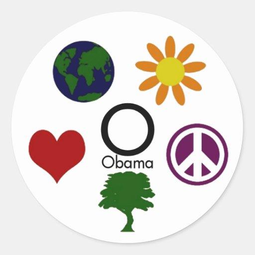 Earth, Flower, Peace, Tree, Love, Obama Sticker