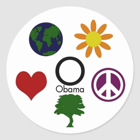 Earth, Flower, Peace, Tree, Love, Obama Sticker
