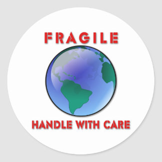 Earth - Fragile Round Stickers