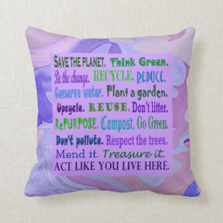 earth friendly word collage throw pillow
