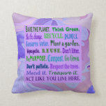 earth friendly word collage throw pillows