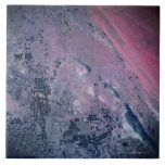 Earth from a Satellite Large Square Tile