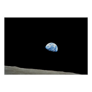earth from moon space universe poster