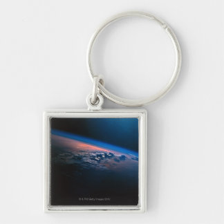 Earth from Outer Space 2 Silver-Colored Square Keychain