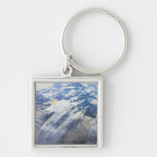 Earth from Outer Space 4 Silver-Colored Square Keychain