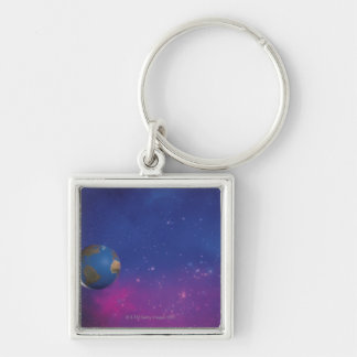 Earth from outer space Silver-Colored square keychain