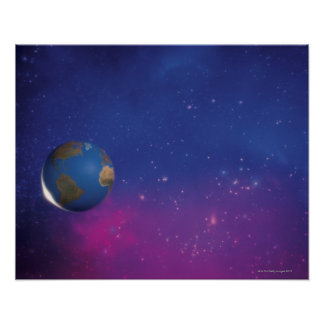 Earth from outer space poster
