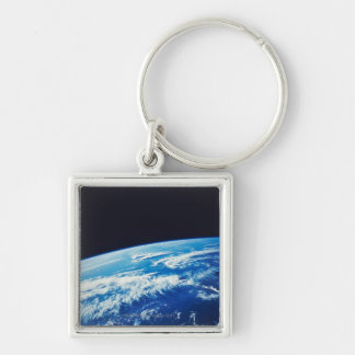 Earth from Space 17 Silver-Colored Square Keychain
