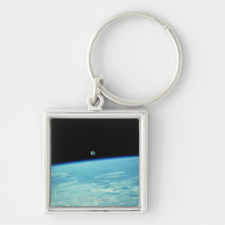 Earth from Space 18 Silver-Colored Square Keychain