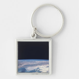 Earth from Space 21 Silver-Colored Square Keychain