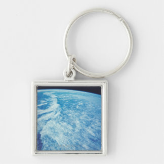 Earth from Space 23 Silver-Colored Square Keychain