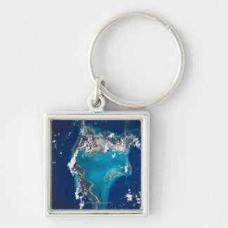 Earth from Space 29 Silver-Colored Square Keychain