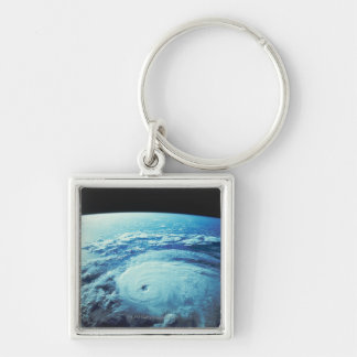 Earth from Space 2 Silver-Colored Square Keychain